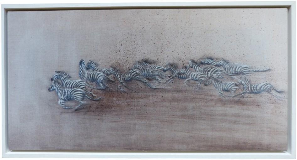 Framed zebra on beige print | Sarah Elder Art